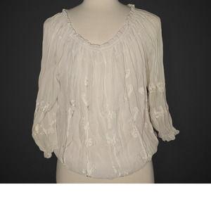 INC White Boho Top Blouse Embellished Size 16